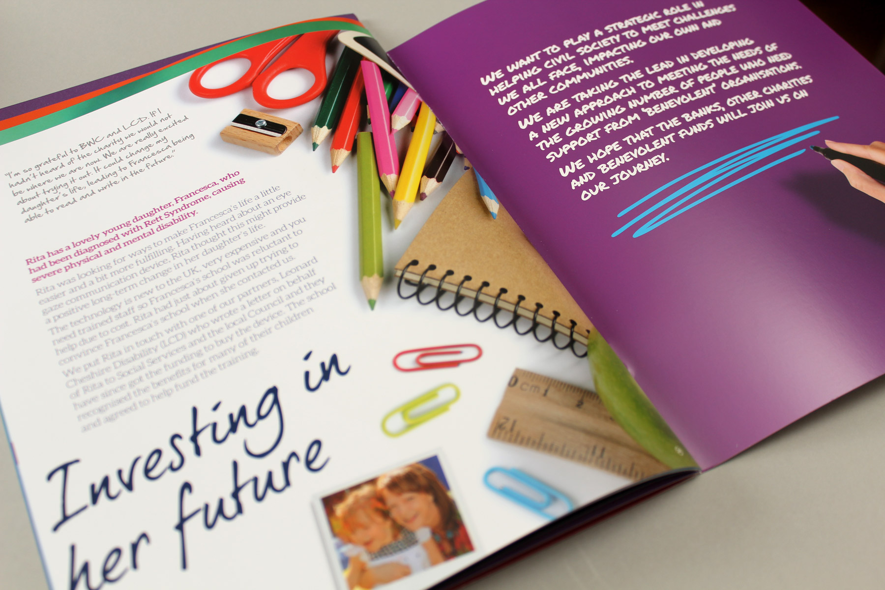 The print communications have been designed with a loose grid format, which creates an overall impression of friendliness