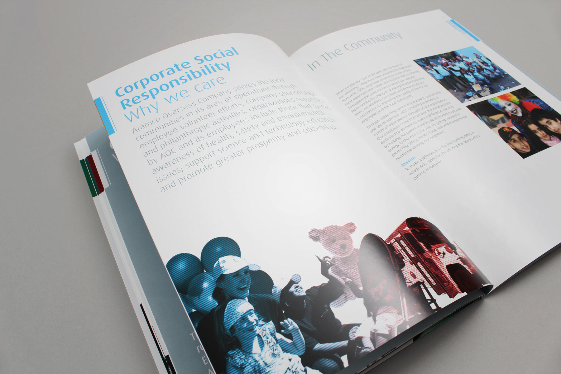The clean layouts contain both the industrial and human sides to the corporate message.