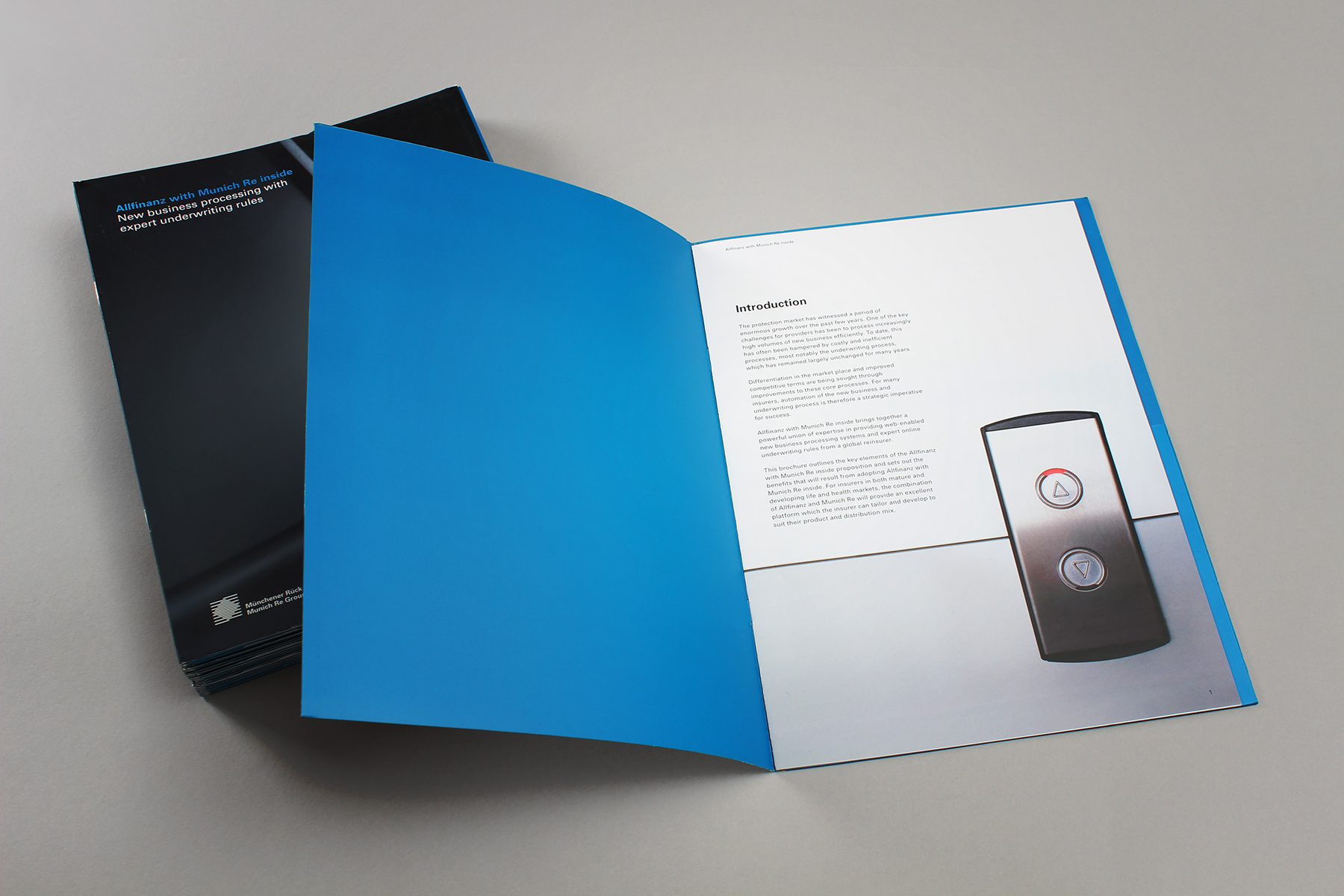 We used images with light backgrounds in order to retain impact yet allow for space for copy,