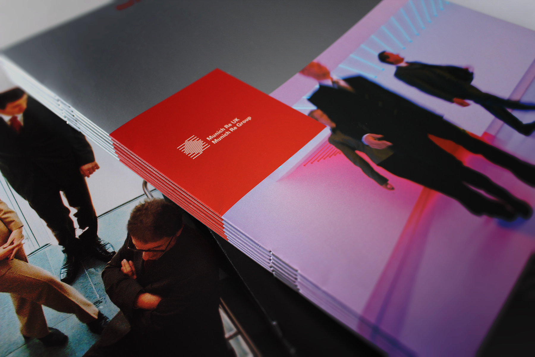 The Munich Re Graduate brochure featured dynamic imagery from the Munich HQ