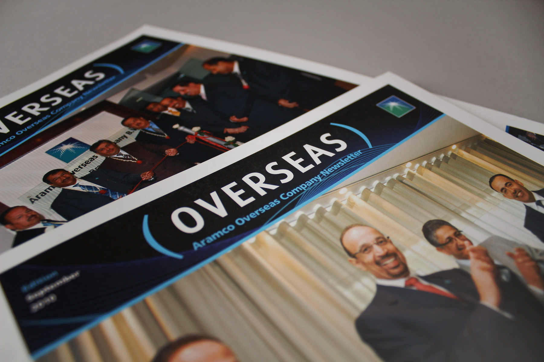 The strong and bold Overseas masthead and cover identity creates strong recall amongst the employees of the business.