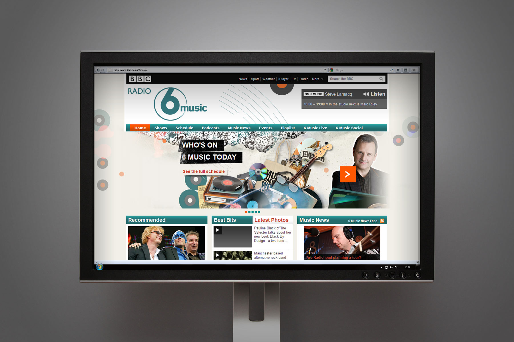 The BBC team have been able to take the brand toolkit and have developed further pages, such as the 6music home page here.