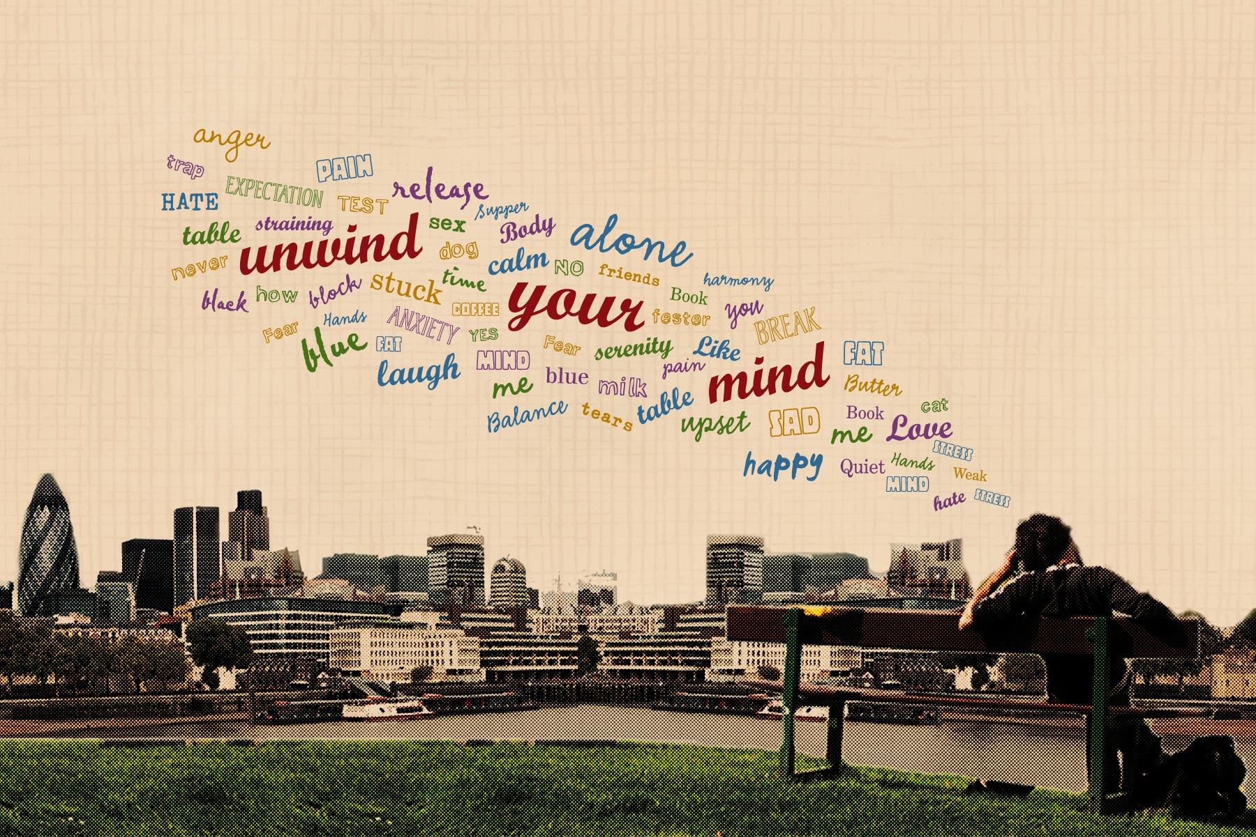 A person sits within a typical british landscape, the graphics indicating all the issues that may trouble the modern mind.