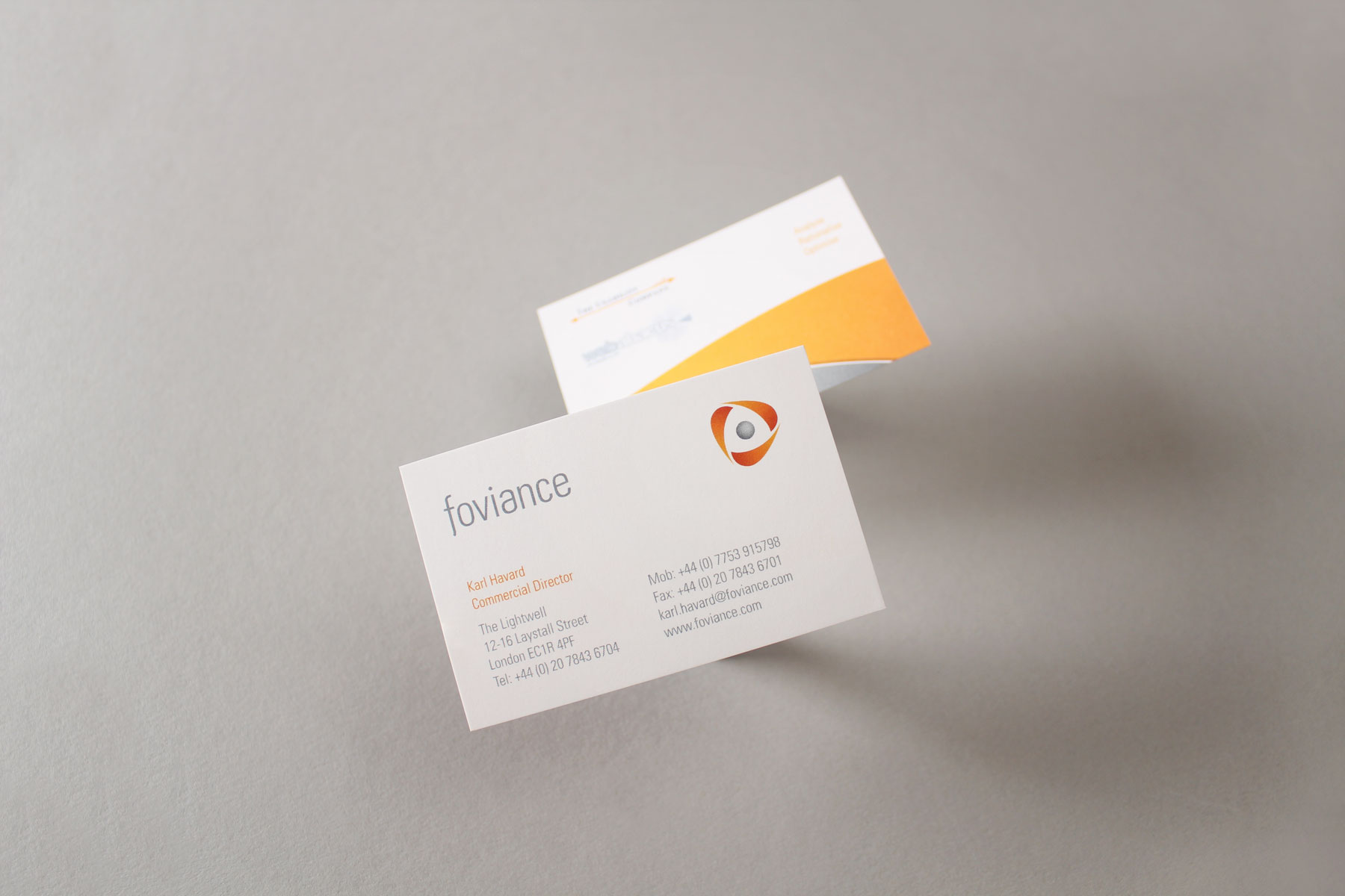 For the primary business communications, this graphic identity was restricted to sweeping arcs of alternative brand colours.