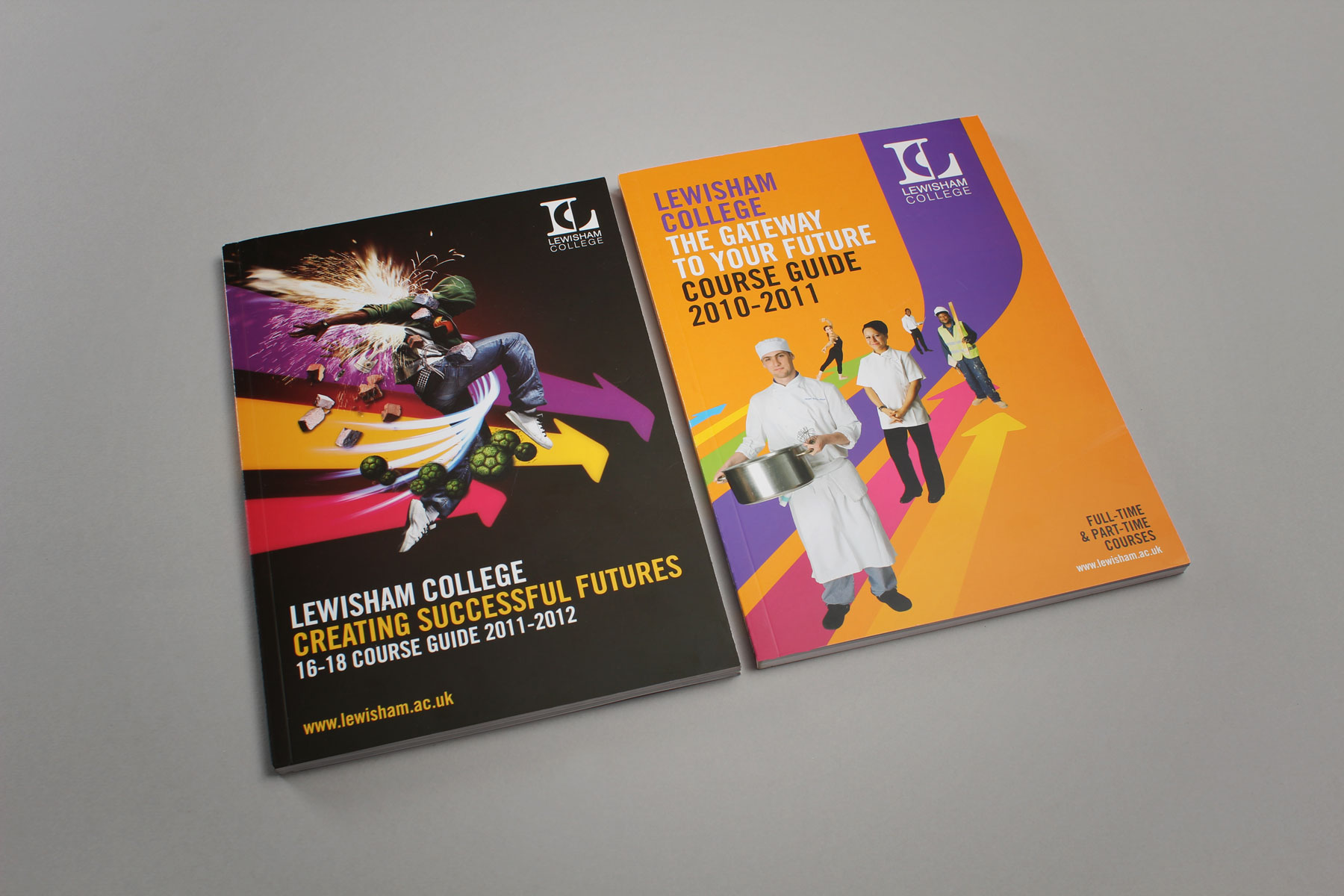 Two course guides showing how the brand language has been extended.