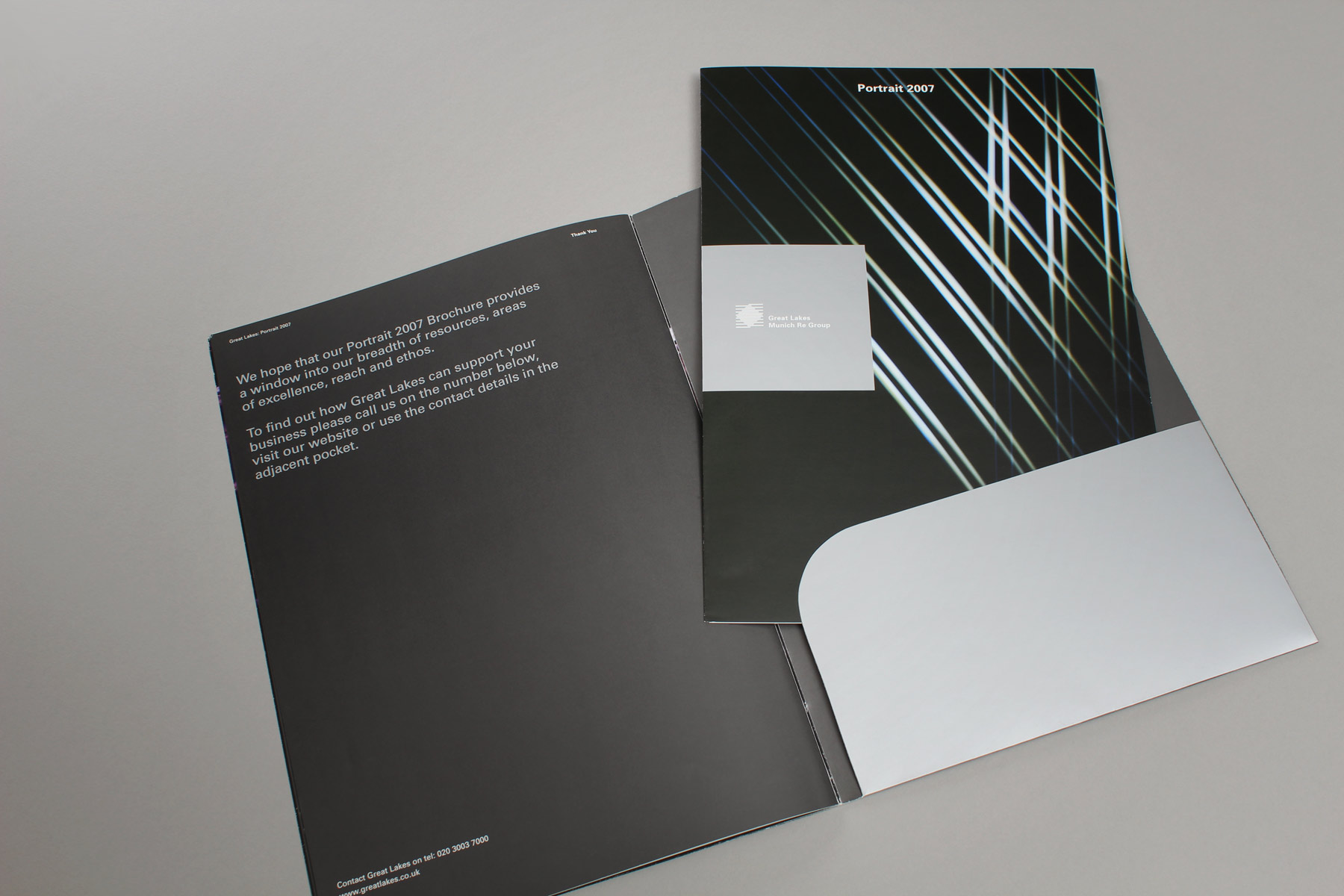 The brochure carried a pocket in the reverse so that it could be extensively used across the business.