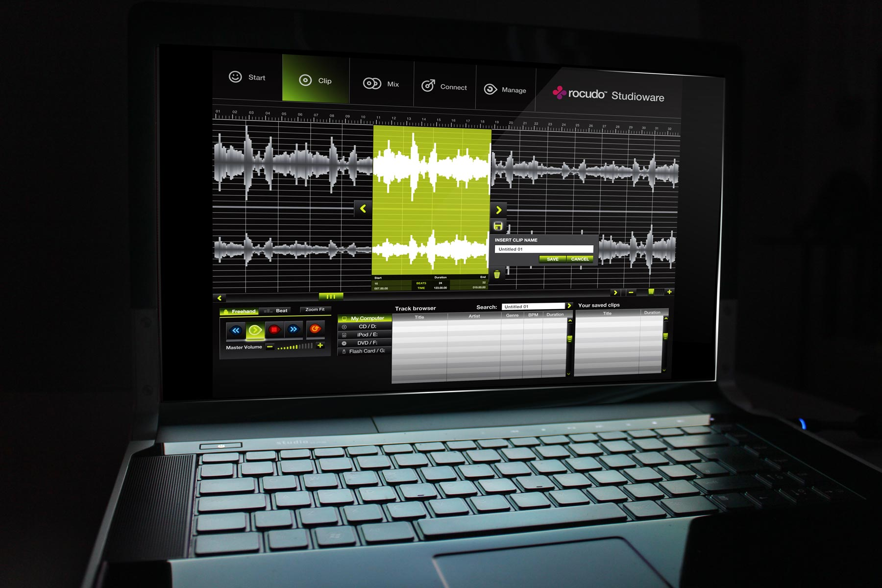 Firedog developed the full user interface for a number of screens within the software. Here, the user selects clips for the mix.