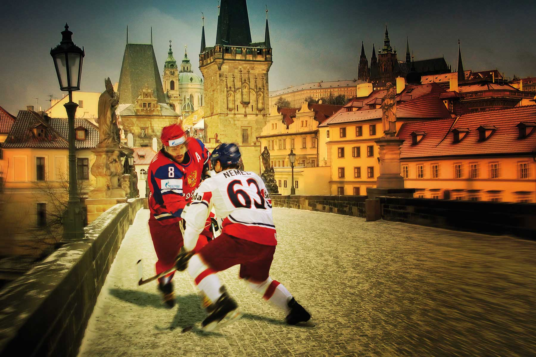 Ice hockey being big in the Czech Republic led us to create this image. The concept is designed to make the players feel as close to their environment as possible.