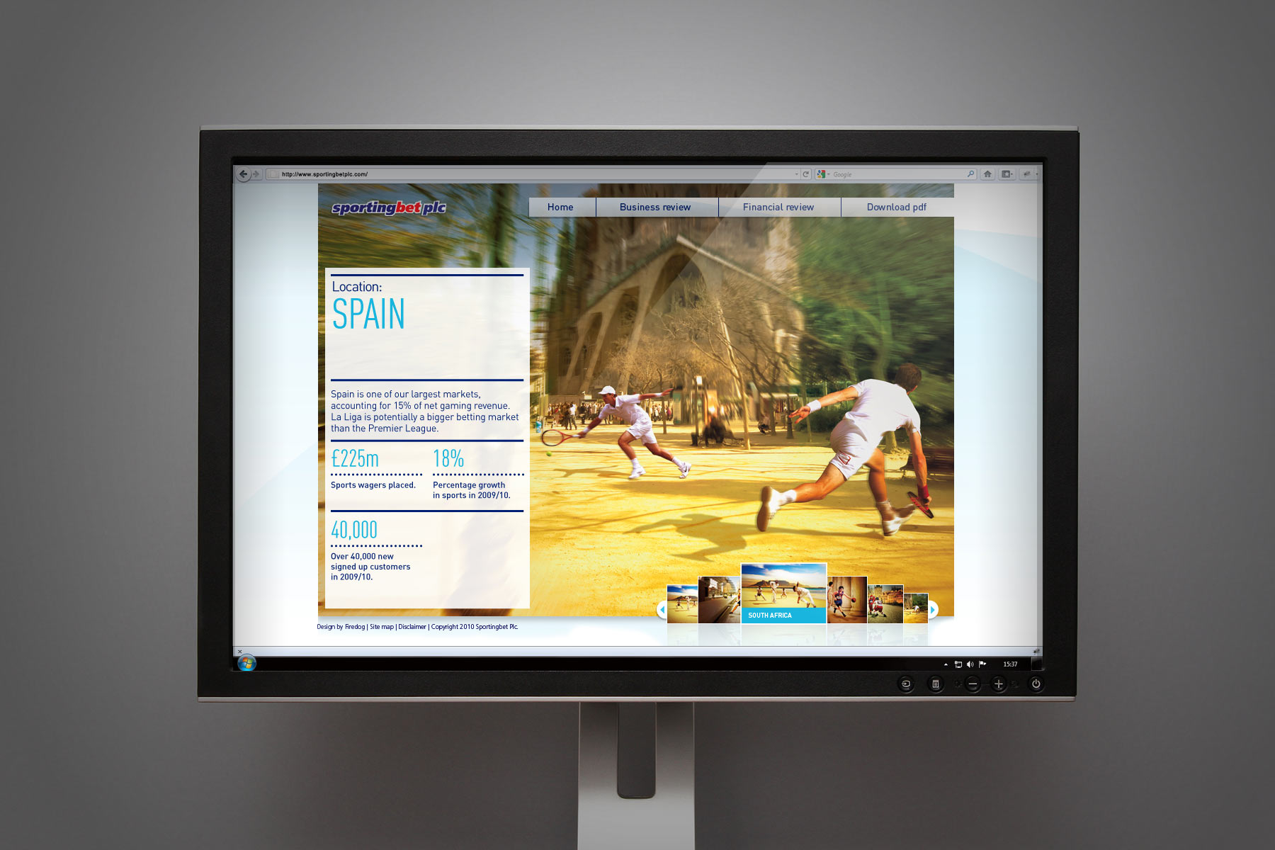 The fullpage imagery integrated nicely into the digital format. A quick spot of competitive tennis in front of the Sagrada Familia.
