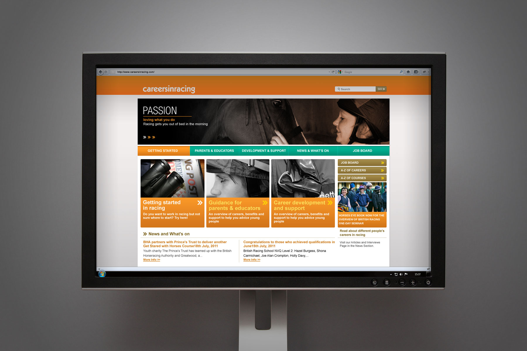 The website, like the careersinracing brand, carries its own identity with a strong colour palette, unique use of imagery and strong clear messaging.