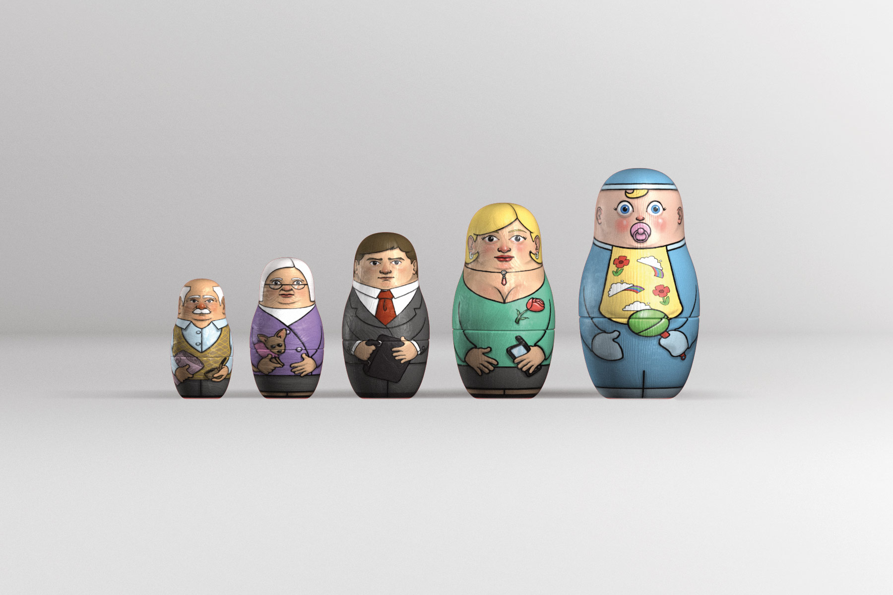 The dolls were produced by creating 3D objects around a doll spline and mapping hand drawn textures onto the forms.