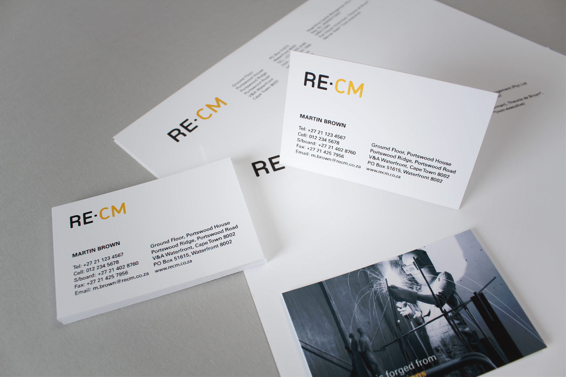 The identity extended to all facets of the business - Using the simple logotype, combined with a clean layout style and supported by the brand visual metaphor.