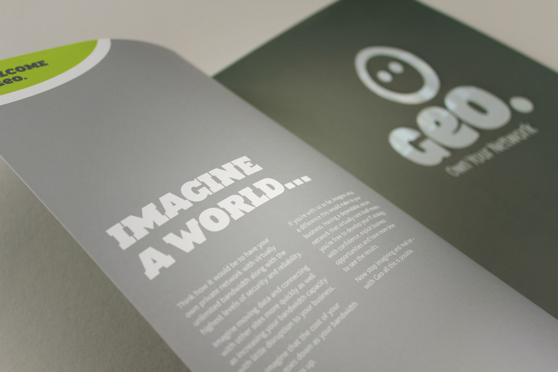 We used a combination of striking images and hard hitting copy to illustrate Geo's unique offering.