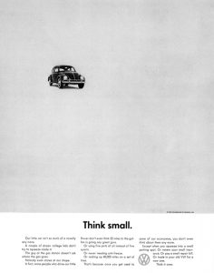 """Art Director Helmut Krone's """"think small"""" campaign"""