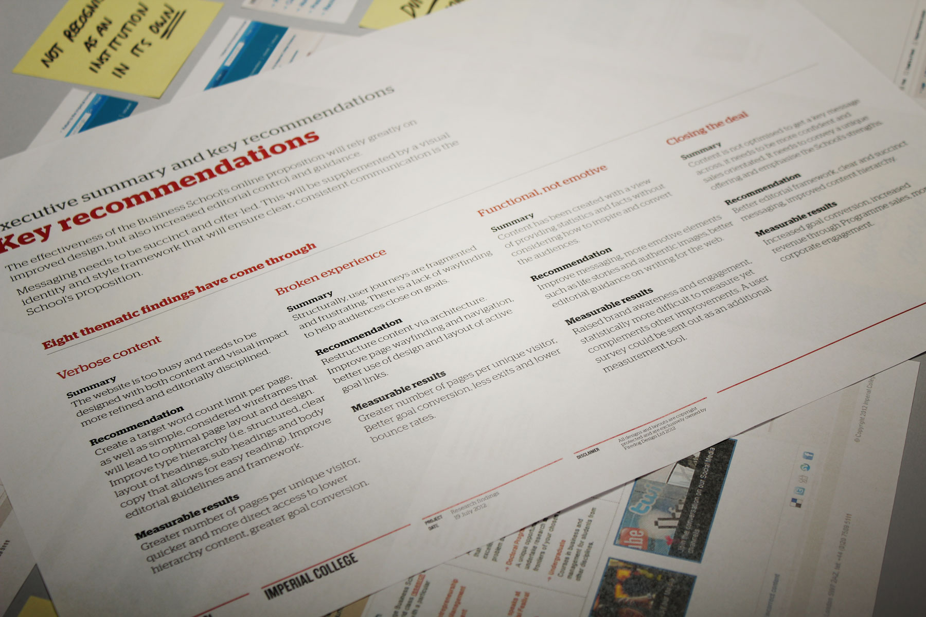 We collated our comments into a key recommendations document. These recommendations became the focus of our redesign
