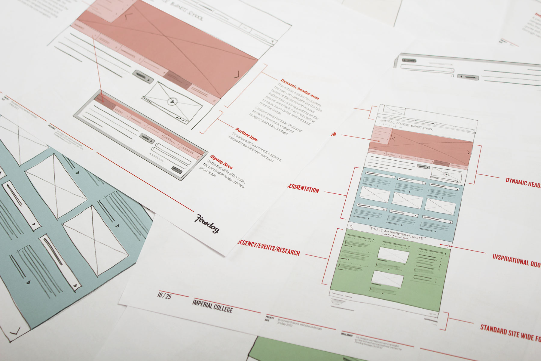 Before we begin the design process, rough sketched wireframes are put together to ensure key fucntional elements deliver strategic content effectively