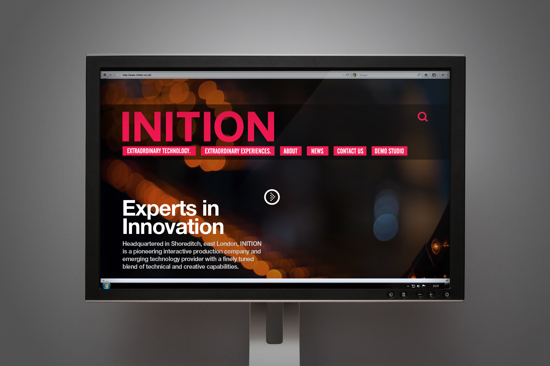 The homepage features impactful video content and imagery, as well as a simple and confident use of typography.