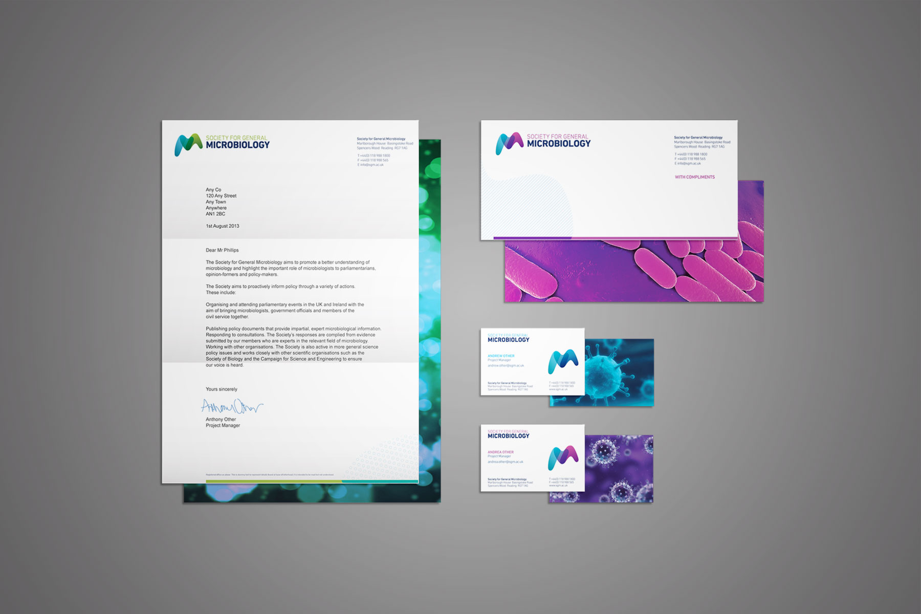 Similarly to the business card, the full stationary set shows how the brand can be corporate yet engaging in the same space.