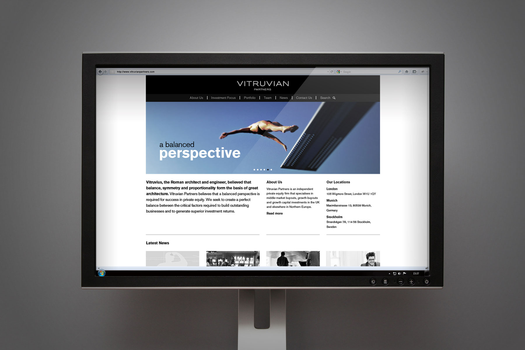The homepage is striking and features a confident brand proposition at the top