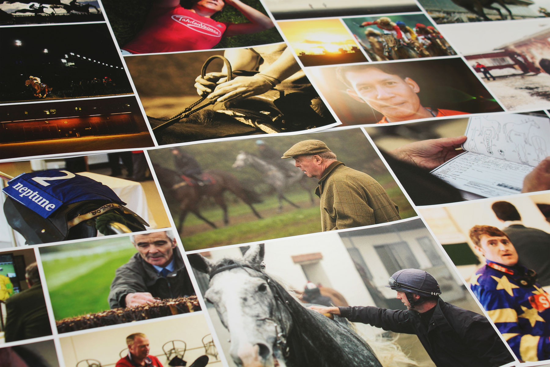 Custom photography was commissioned to get behind the scenes and document all aspects of racing, from mucking out to weighing in the jockeys.