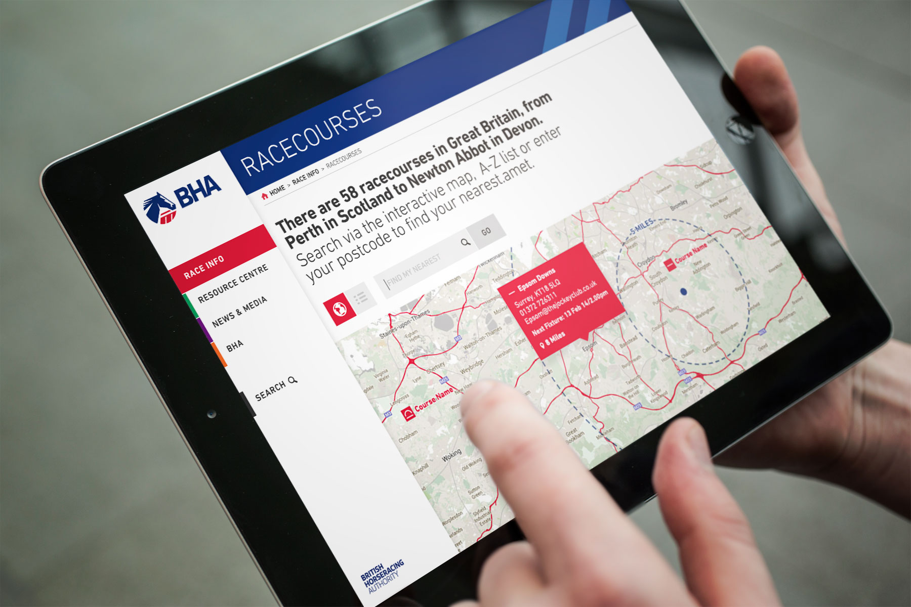 As a portal for information from disqualified jockeys to racecourse locations, the site needs to be easy to use in all situations. Here, we can see how easy it is to locate your nearest racecourse.