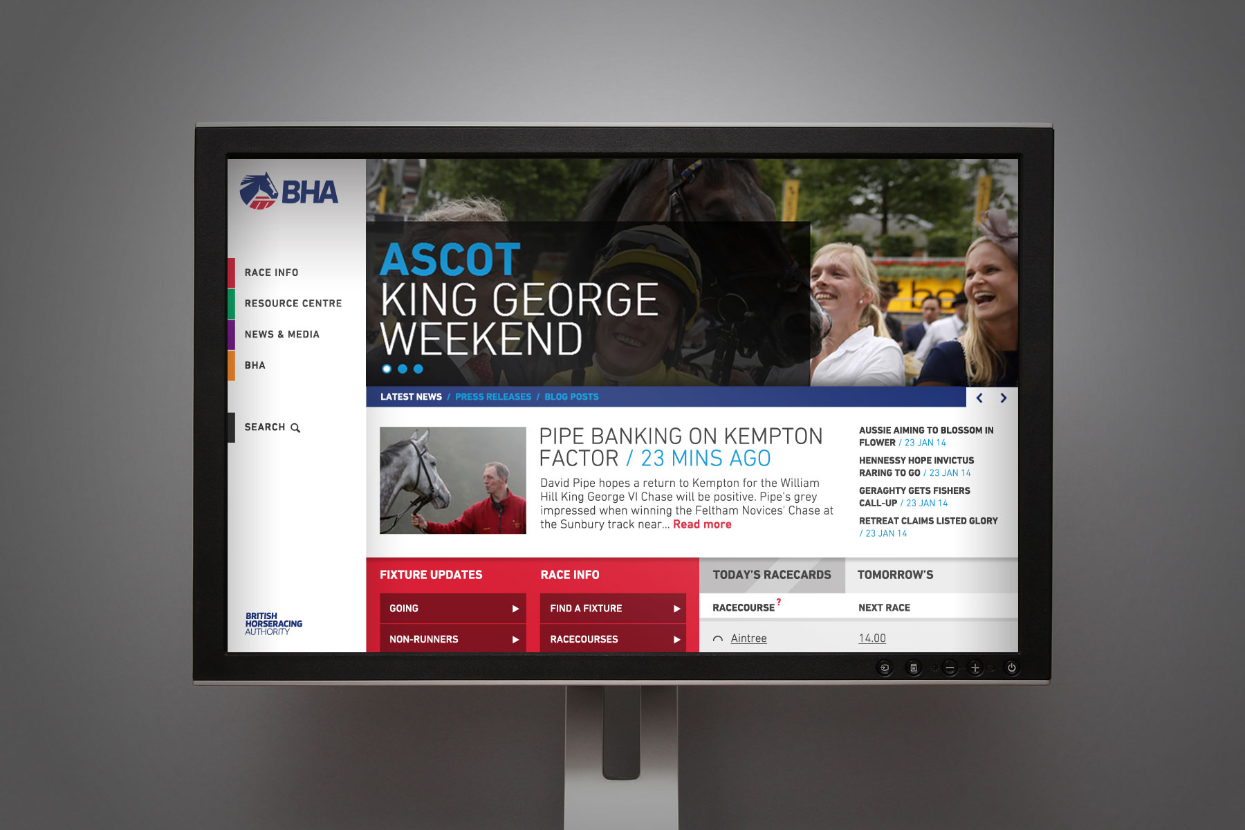 This is the branding in a digital space. A secondary colour palette is used for website section colours.