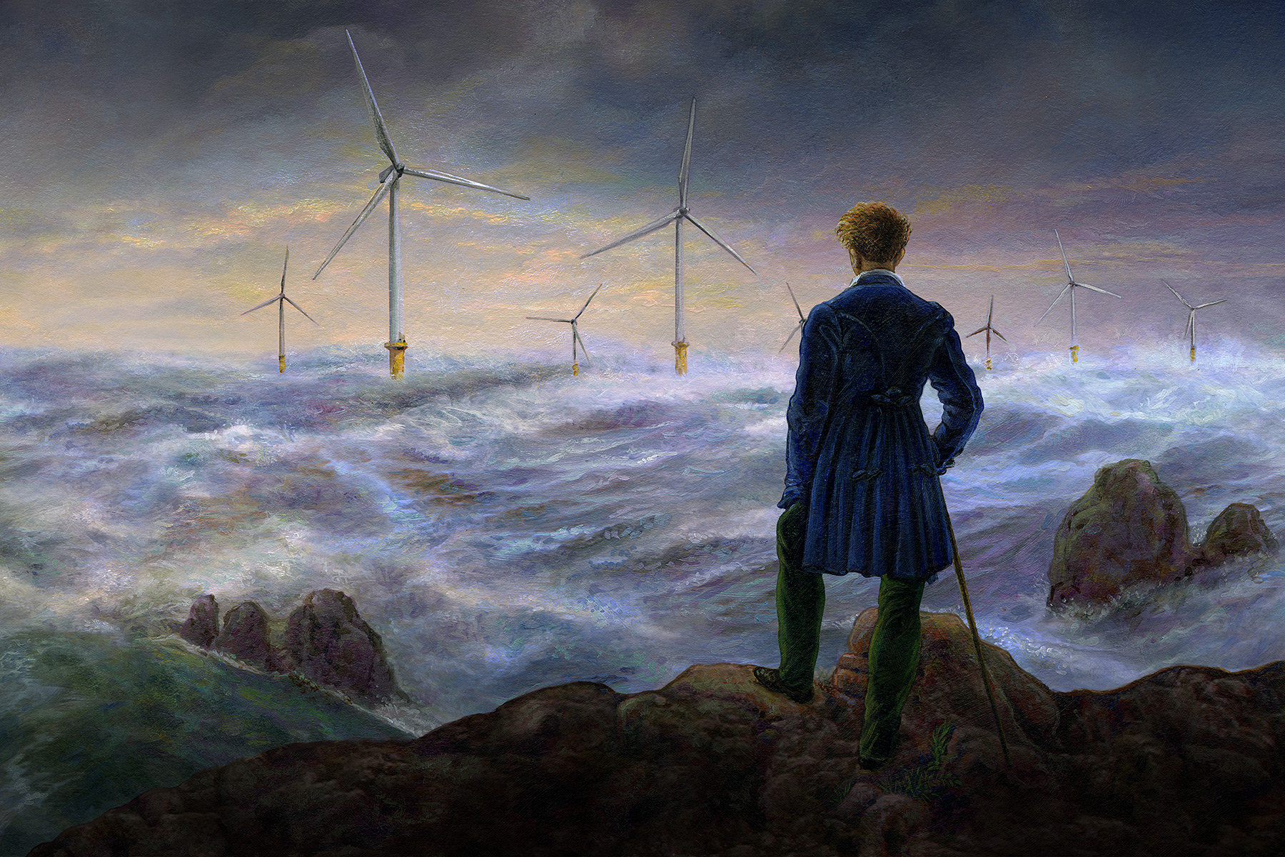 Our homage to Caspar David Friedrich featuring a seascape dotted with wind turbines.