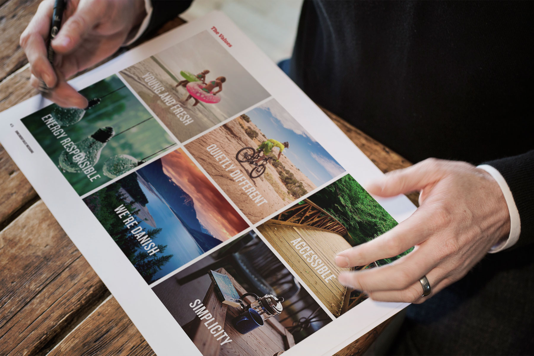 The development of the brand's identity began with research into its values. This research established six key themes.