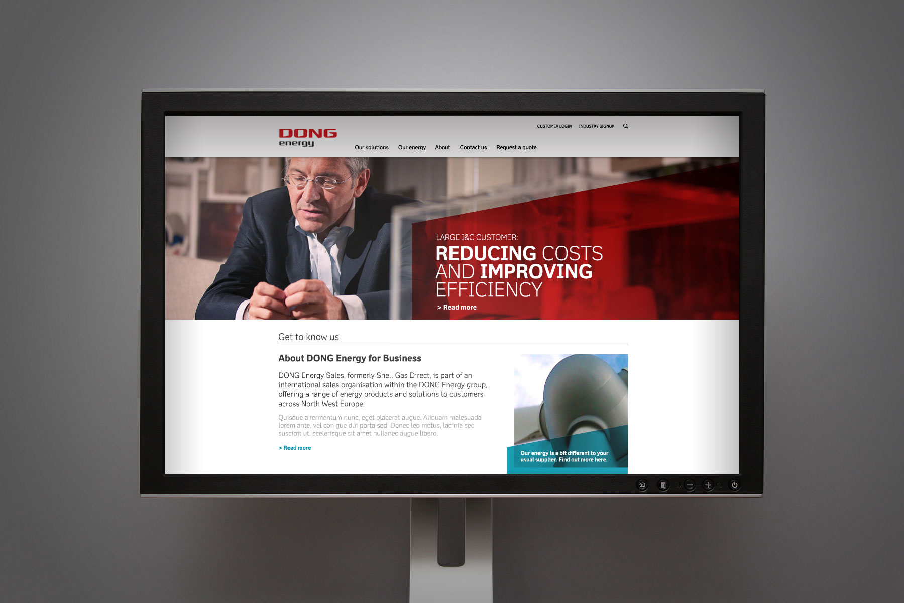 The new homepage - to add interest, the graphic devices are often combined with cut-out photography. Imagery focuses on people, as research reveals that DONG Energy for Business is a people-centred brand.