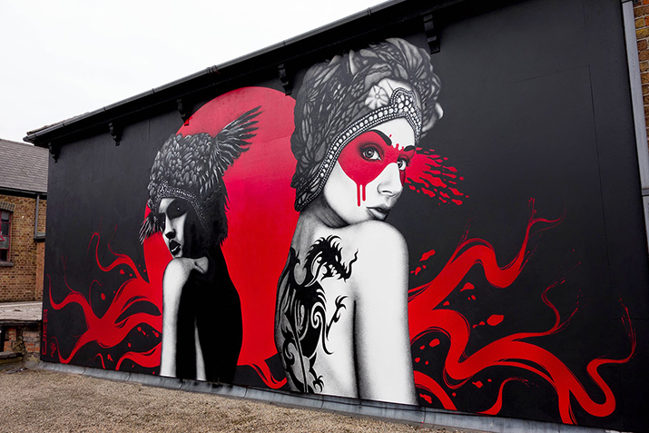 Dark Angel, Deadly Dragon - A wall of contemporary art in West London