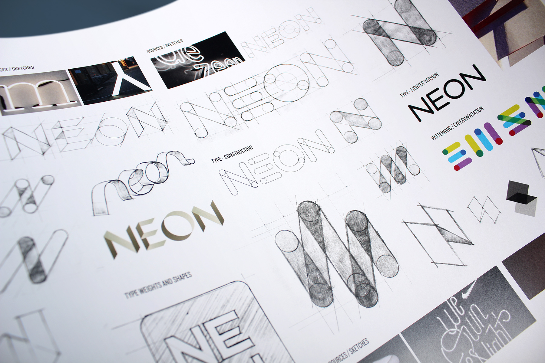 Neon is a wonderfully simple name, connected to an entire world of properties and meanings. We wanted to express its exuberant nature through hand cut type and icons.