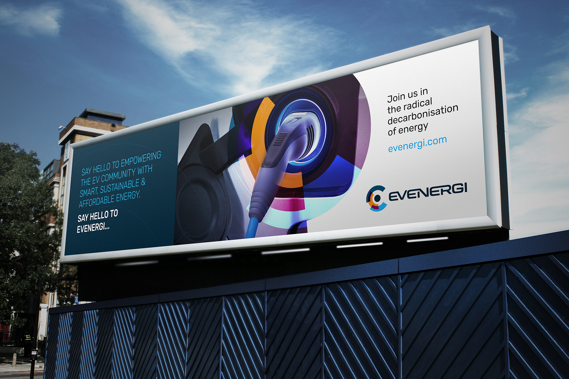 The combination of a techy aesthetic and commanding tone of voice calls upon the target audience to join the EV revolution.