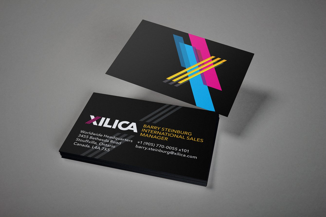 The Xilica audio branding applied to business cards
