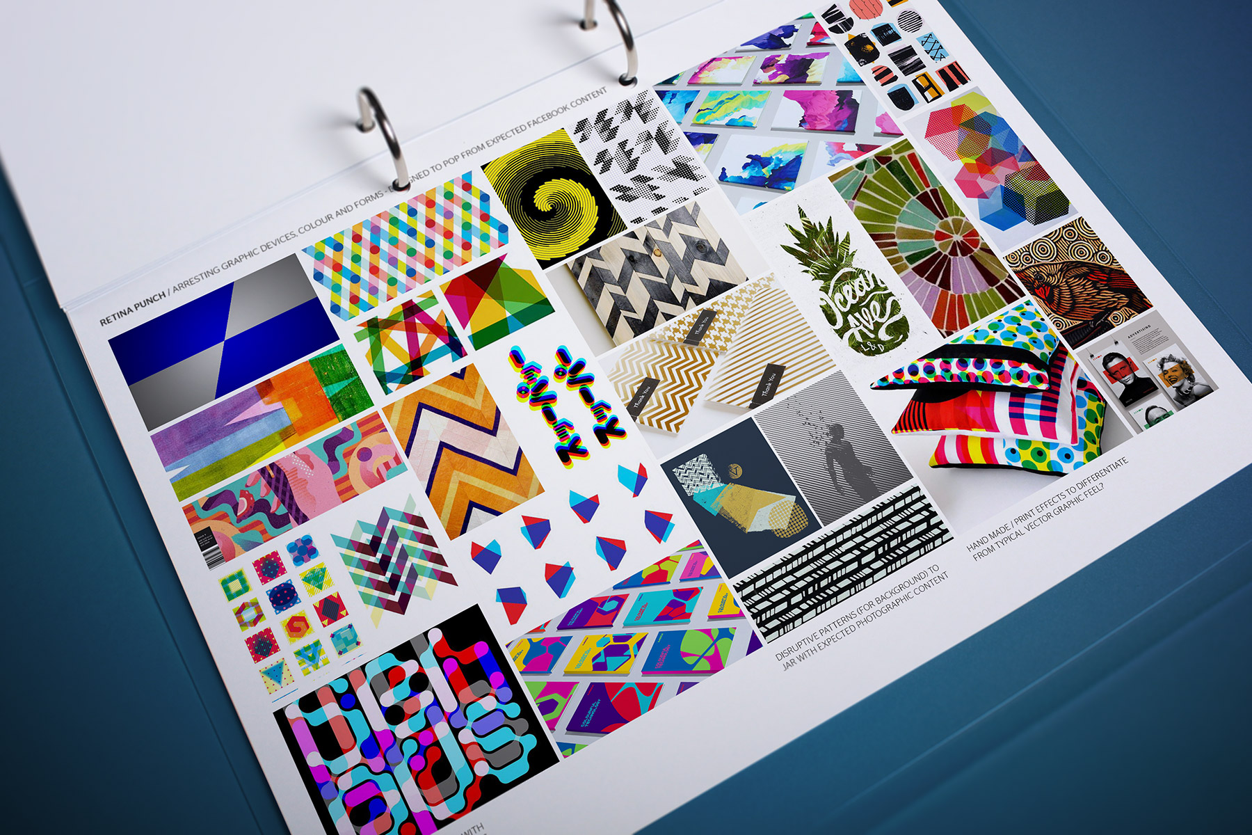 We studied various graphical mnemonics such as disruptive patterning, distortion, print effects and colour modelling. All with the deliberate purpose of stimulating the audience's subconscious mind.