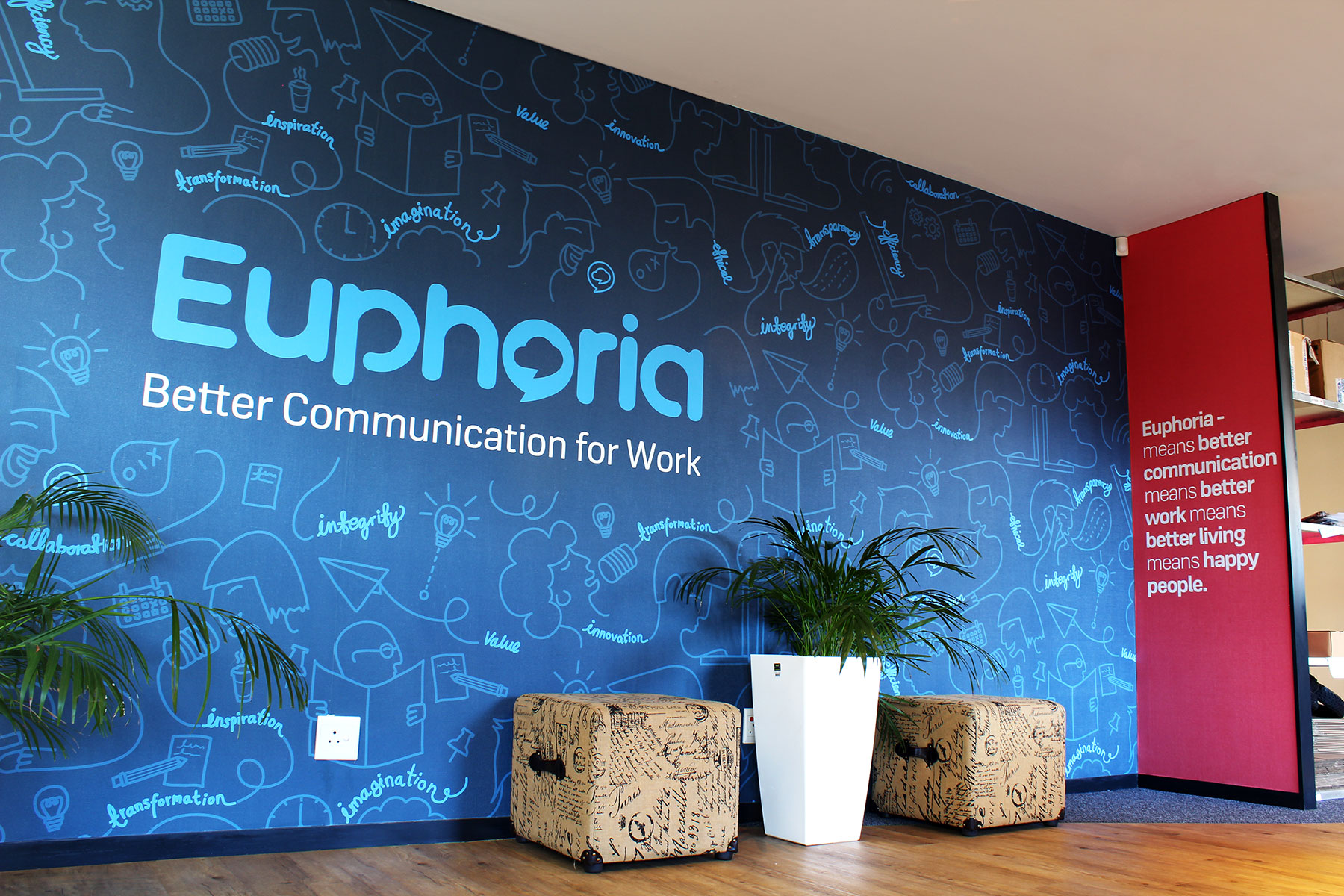 The wall lies immediately within the reception of the HQ in Cape Town.