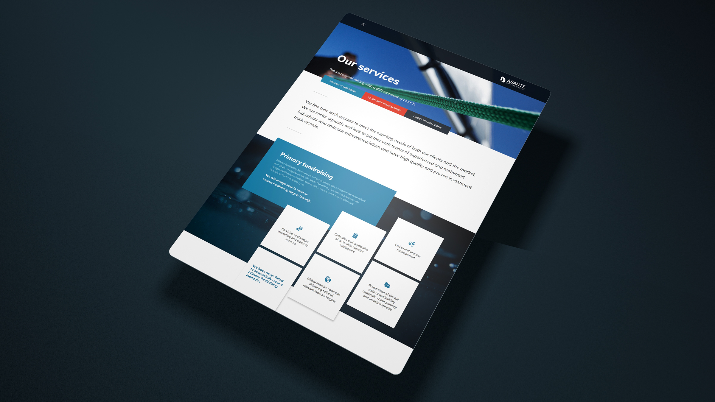 We developed in page animations for the loading of content in order to build upon the fluid nature of the website.