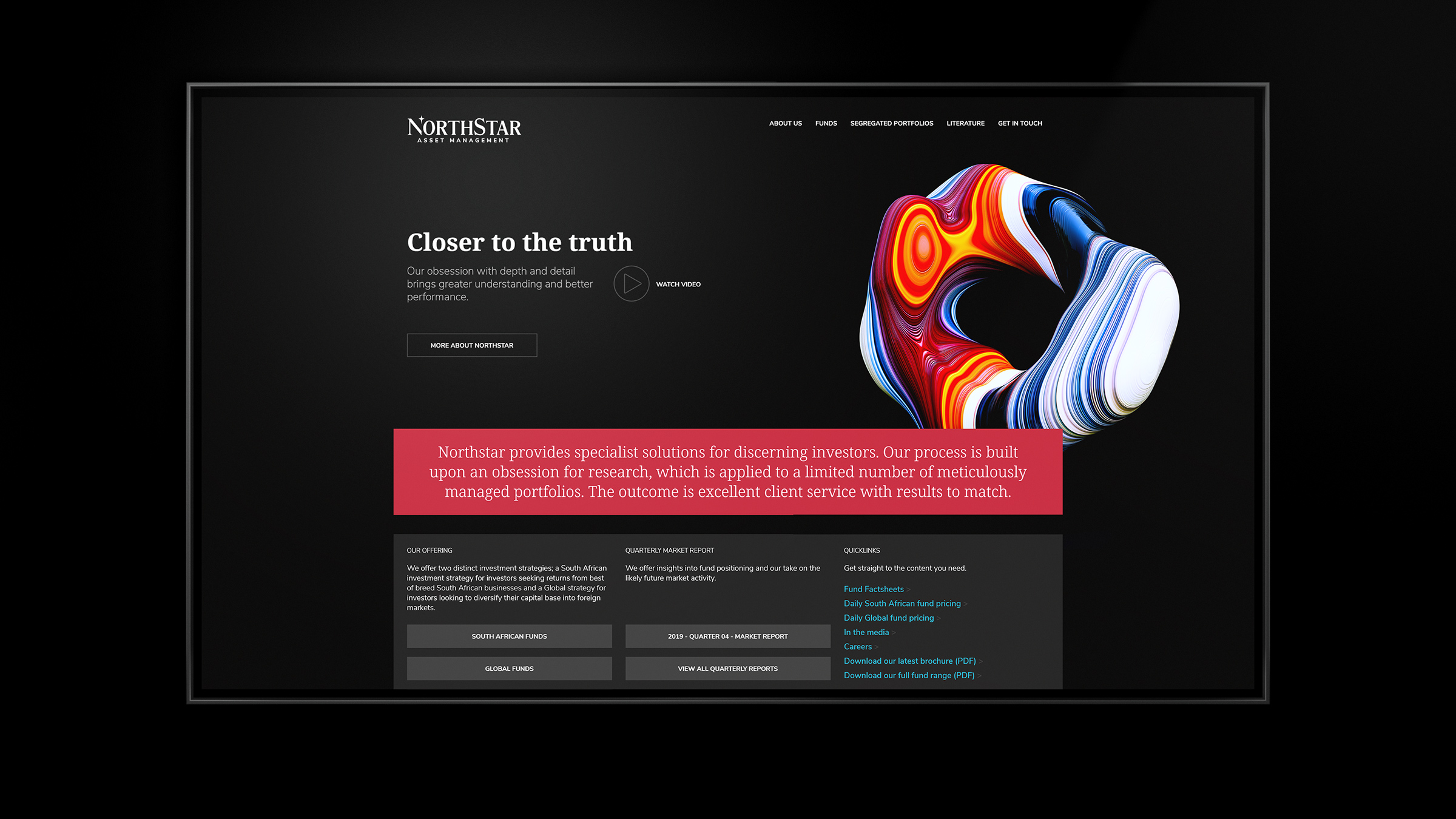 The home page of the site articulates the overall positioning front and center.