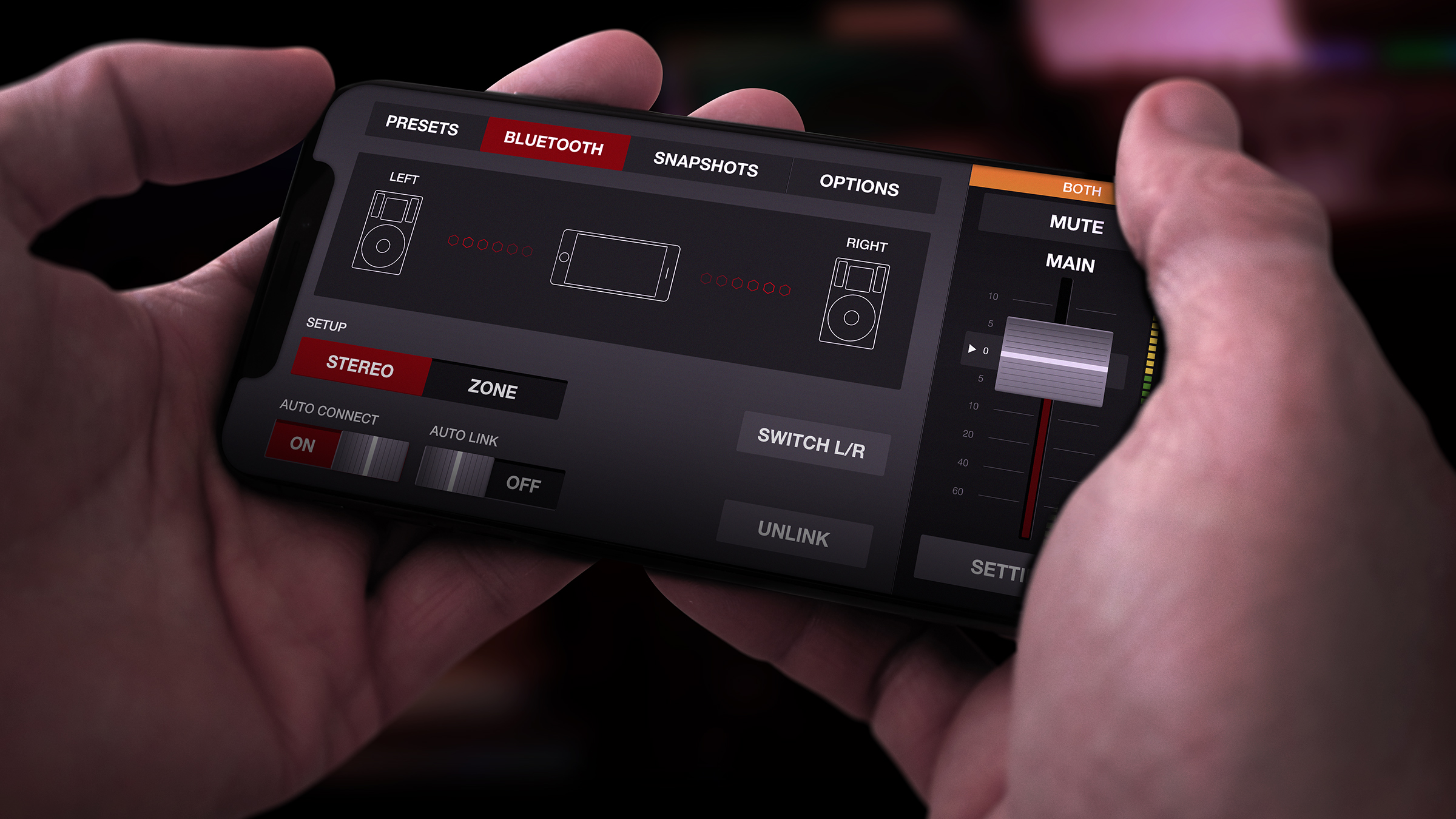 The app connected to the Martin Audio loud speakers via Bluetooth technology. We created a series of animations and feedback designs.