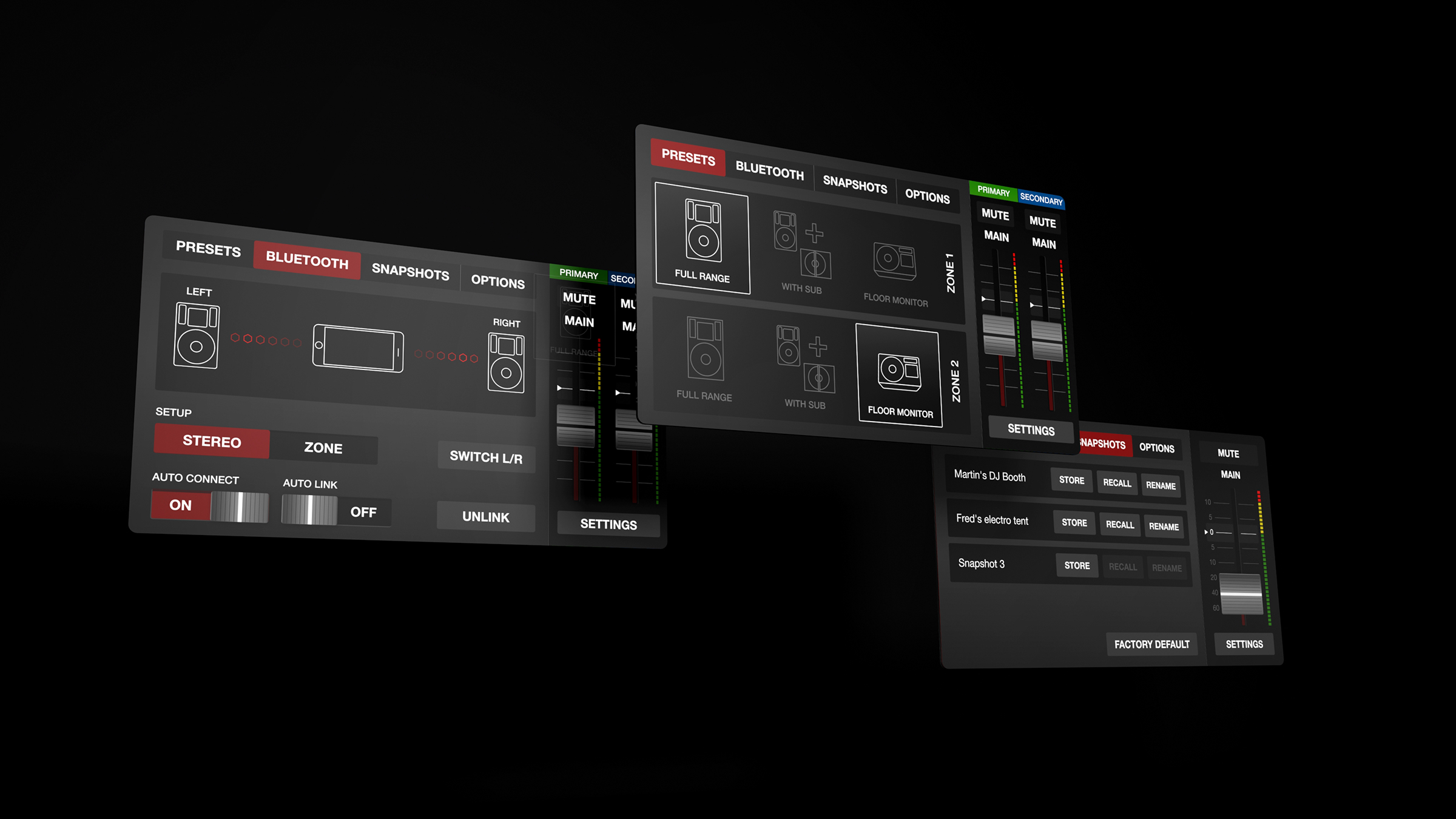 The experience features a neutral dark interface combined with bright zones of activity and interactivity.