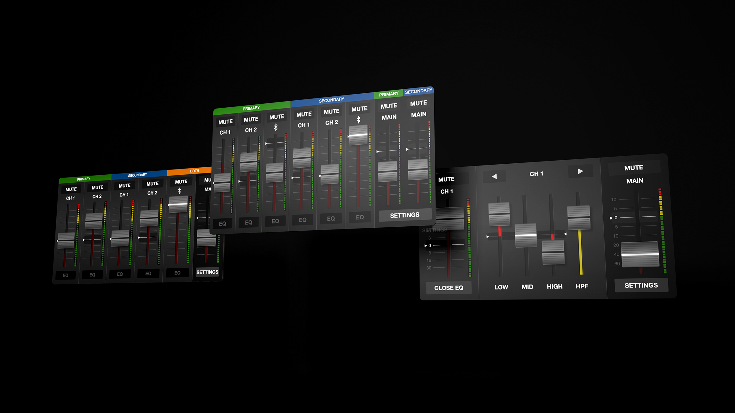 The software allows for multiple zone control and therefore we required a number of different fader screen designs for each format and eventuality.